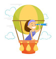 caucasian white woman flying in hot air balloon vector image vector image