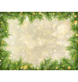 christmas gold bokeh with tree branches frame vector image vector image