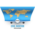 civil aircraft with world map vector image vector image