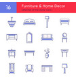 collection of furniture line icons vector image