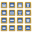 crown icons set blue