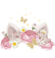 cute catroon character with floral wreath and vector image