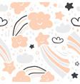 cute scandinavian handdrawn pattern- stars clouds vector image