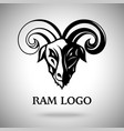 dark ram goat head with horns template for vector image vector image