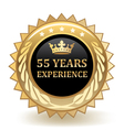 Fifty Five Years Experience Badge vector image vector image