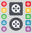 Film icon sign A set of 12 colored buttons Flat vector image