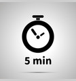 five minutes timer simple black icon with shadow vector image