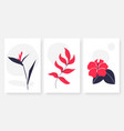 flower and leaves single continuous line art set vector image
