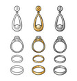 gold and platinum rings with diamond vintage vector image vector image
