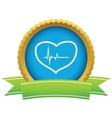 Gold heart beating logo vector image