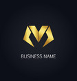 gold letter m business logo vector image vector image