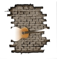 Guitar in the doorway of brick wall vector image vector image