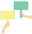 hands holding a picket sign vector image vector image