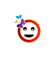 Happy smiley with butterfly vector image