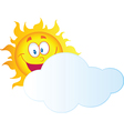 Happy Sun Hiding Behind Cloud vector image
