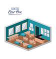 isometric floor plan of school canteen in colorful vector image vector image