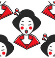 japanese woman geisha makeup and chopsticks in vector image