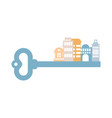 key to city buildings and homes urban clue vector image vector image