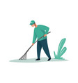 man cleaning garbage male with rake activist in vector image