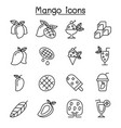mango icon set in thin line style vector image