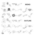 manipulation by hands monochrom icons in set vector image vector image