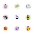Marriage ceremony icons set pop-art style