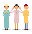 muslim praying three muslim men stand and pray vector image vector image