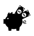 piggy savings with bills vector image vector image