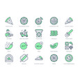 pizza delivery line icons set vector image vector image