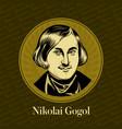 portrait a russian writer nikolai gogol vector image