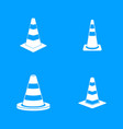 road cone icon blue set vector image vector image