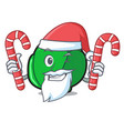 santa with candy brussels mascot cartoon style vector image vector image