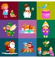 set animals winter holiday North Pole vector image vector image
