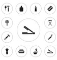 set of 12 editable barber icons includes symbols vector image