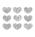 set of cocktails names lettering in heart - gin vector image vector image