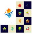 set of stars twist logo design concept storm vector image vector image