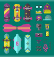 skateboard icons set vector image