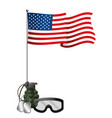 united state flag with grenade vector image