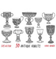 vintage collection with ten antique goblets vector image vector image
