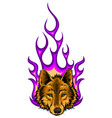 wolf on fire for tattoo design vector image vector image