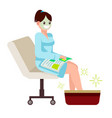 woman at spa salon sits with a magazine vector image vector image