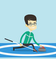curling player playing curling on curling rink vector image