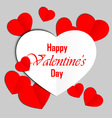 Red and white paper heart Valentines day card vector image