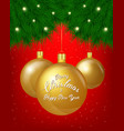 merry christmas greeting card of golden vector image