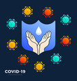 a hand wash icon with blue shield border to vector image