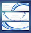 abstract blue wavy banners set vector image vector image