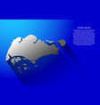 abstract map of singapore with long shadow on vector image