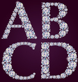 Alphabet of diamonds ABCD vector image