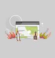 arab couple creating custom design on laptop vector image