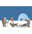 arctic people settlement igloo and inuits village vector image